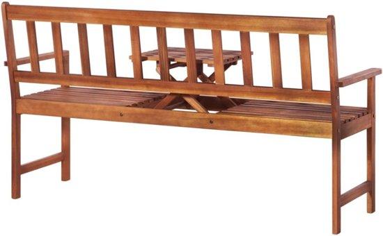 vidaXL Tuinbank met uitklaptafel 158 cm massief acaciahout bruin
