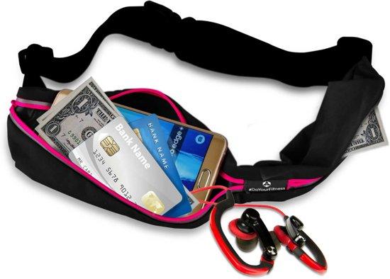 #DoYourFitness - Loopriem - »Run4Fun« - heuptas / ritszak voor hardlopen ,elastisch, waterdicht - mobiele telefoon tot ca. 5,5 inch - pink
