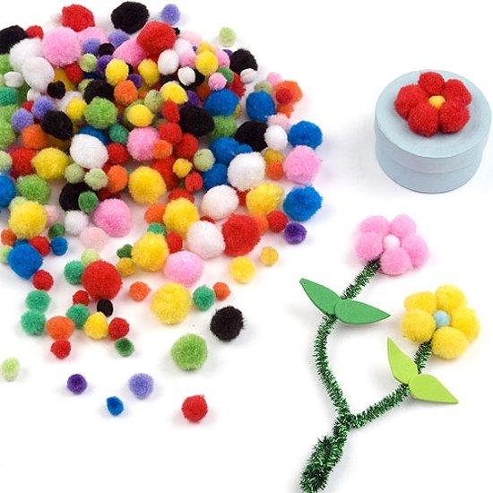 Gekleurde minipompons  (500 stuks per verpakking)
