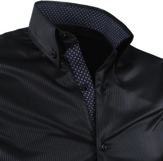 En Gestreept Strijkvrij MontazinniHeren Zwart Kreuk Overhemd OPZuTXik