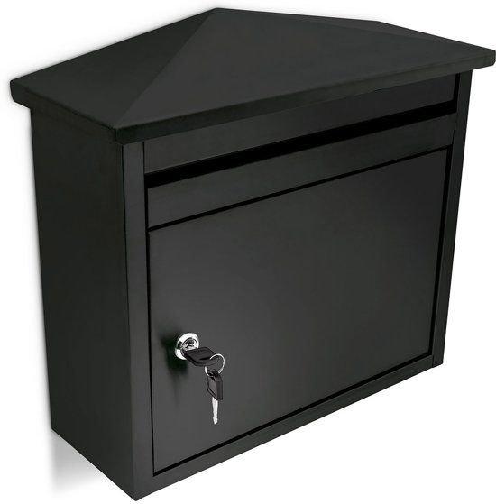 relaxdays Brievenbus weerbestendig wandmodel zwart ijzer incl. slot 2 sleutels - 41x37x16