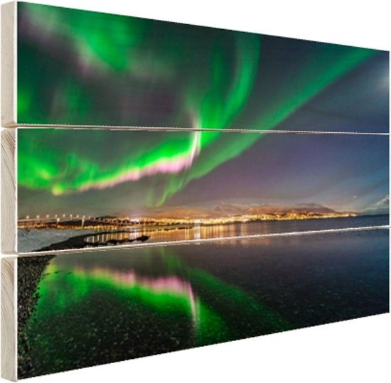 Noorderlicht in Tromso Hout 120x80 cm - Foto print op Hout (Wanddecoratie)