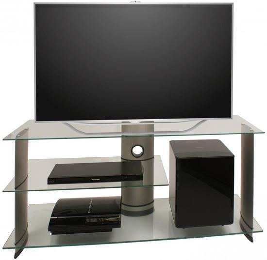 Uitgelezene bol.com | TV meubel kast Subuso 120 cm verrijdbaar zilver/helder glas HX-83