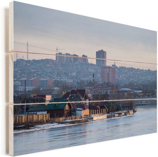 Irkutsk Skyline Vurenhout met planken 90x60 cm - Foto print op Hout (Wanddecoratie)
