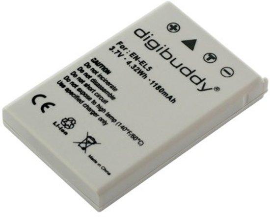 Digibuddy Camera accu compatibel met Nikon EN-EL5 - 1180 mAh
