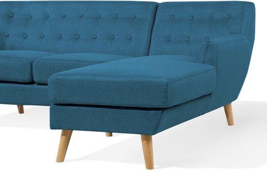 Beliani Bank blauw, sofa, hoekbank, gestoffeerd, MOTALA
