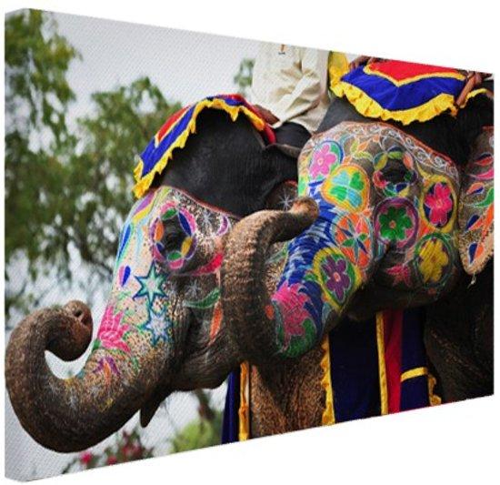 Twee beschilderde olifanten Canvas 30x20 cm - Foto print op Canvas schilderij (Wanddecoratie)
