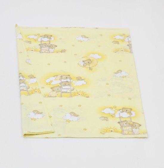 Dekbedovertrek - 100% katoen - 120x90cm linnen - beertjes met hemel geel