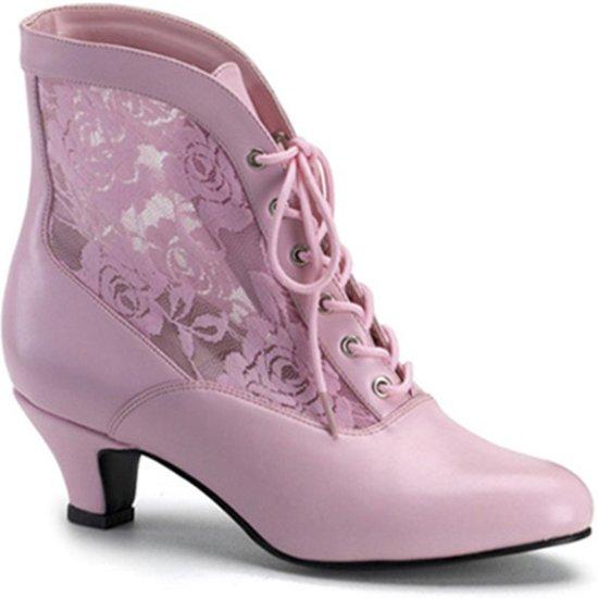 Jenna 105 enkellaars met korte hak en zwarte kanten afwerking mat rood (EU 39 = US 9) Pleaser Pink Label