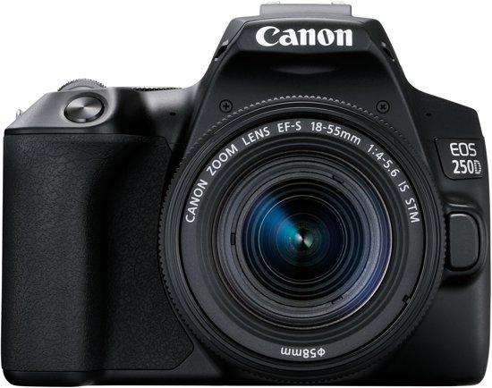 Canon EOS 250D + 18-55mm f/3.5-5.6 DC III + Cameratas + 16GB Geheugenkaart + Lensdoek - Zwart