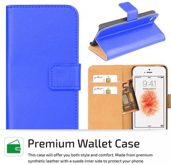 qMust - Apple iPhone SE hoesje - Elegant Wallet Case - Blue in Neder-over-Heembeek (Bru.)