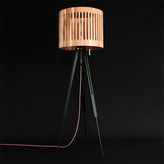 bol | bintwood sun teak handgemaakte houten staande lamp