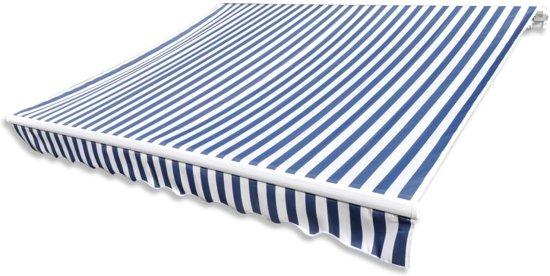 vidaXL Canvas zonnescherm met luifel 3x2,5 m blauw wit frame niet inbegrepen