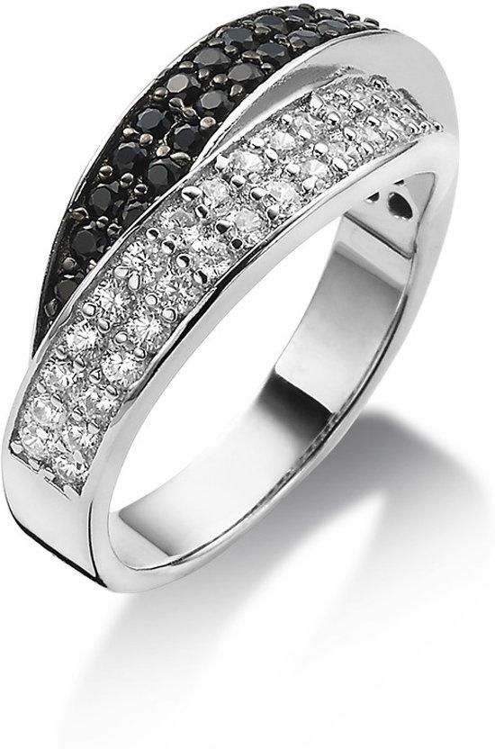 Twice As Nice ring in zilver, gezet met witte zirkonia en zwarte spinel zwart-wit 60