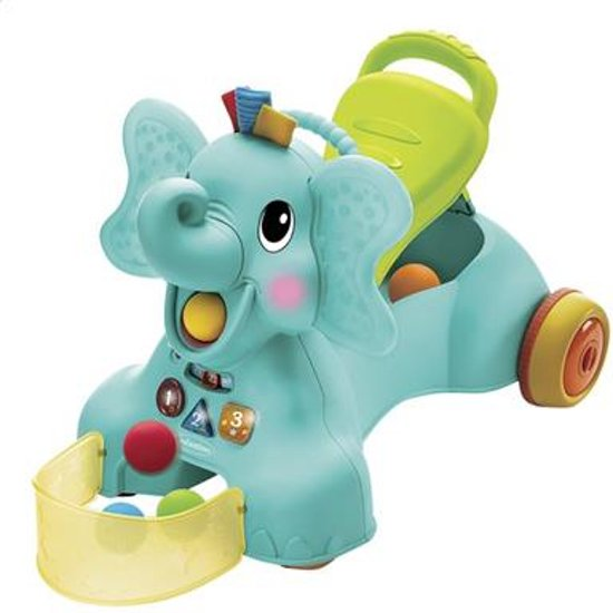 Infantino - Sensory - 3 in 1 Ride On Elephant - Loopfiets - Olifant - Ballenglijbaan