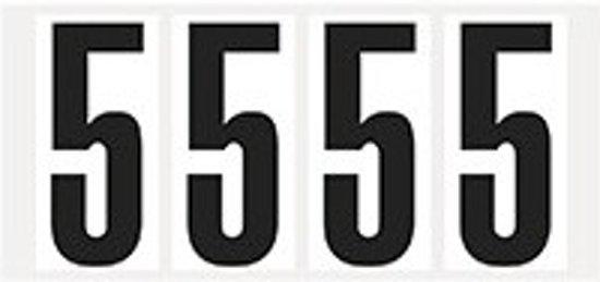 Cijfer stickers wit/zwart teksthoogte: 95 mm