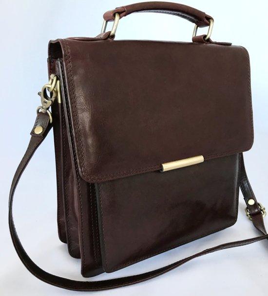 ba81897904d Leather Design - leren schoudertas dames leer - Premium kwaliteit - Bruin