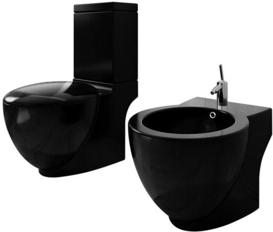 staand toilet en bidet set zwart. Black Bedroom Furniture Sets. Home Design Ideas