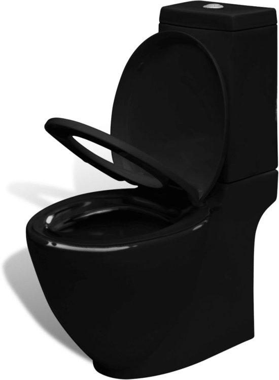 vidaXL Staand toilet en bidet set (zwart)