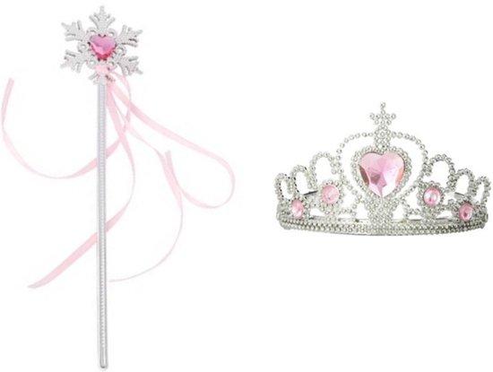 Prinses accessoire set staf met roze lint en kroon