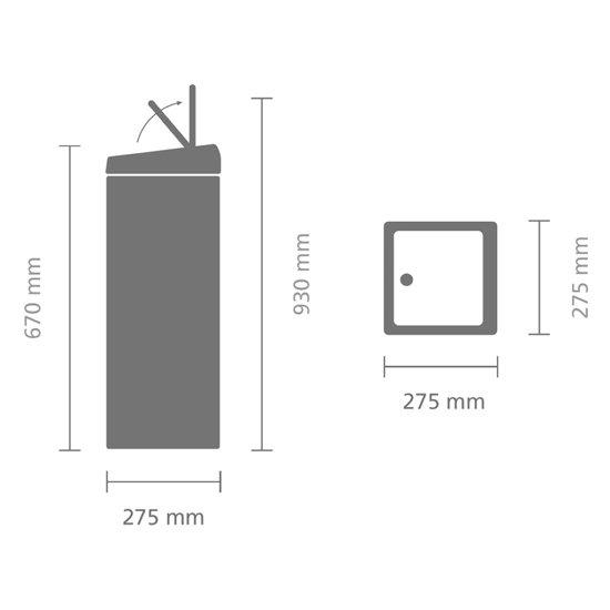 Brabantia Touch Bin Vierkant 25 Liter Zwart