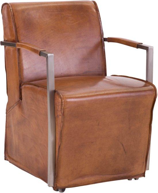Goossens mountain vintage stoel bruin met arm for Eetkamerfauteuil op wieltjes