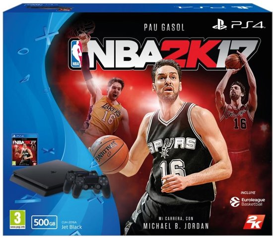 Sony PlayStation 4 500 GB + 2 Wireless Dualshock Controllers + NBA2K17