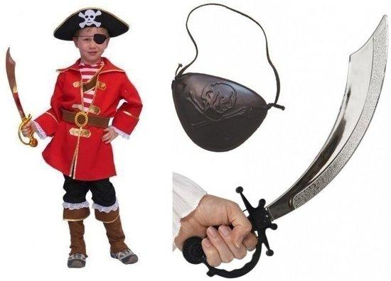 Compleet piraten/kapiteins kostuum maat 128 - piraten verkleedpak voor kinderen