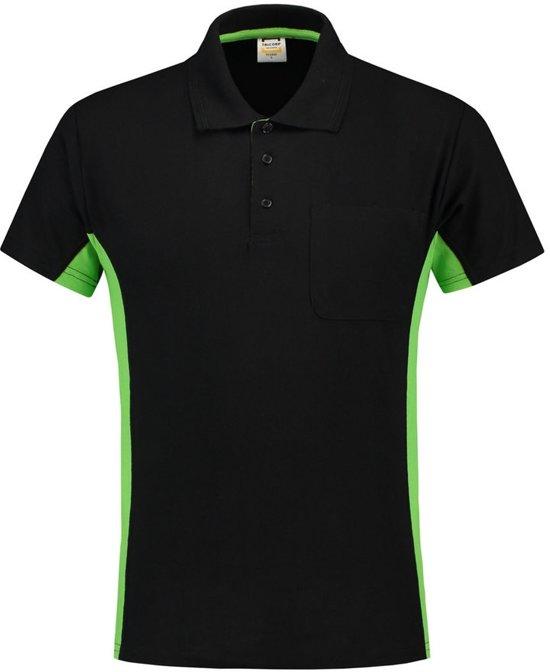 Tricorp Poloshirt Bi-Color - Workwear - 202002 - Zwart-Limoengroen - maat 5XL
