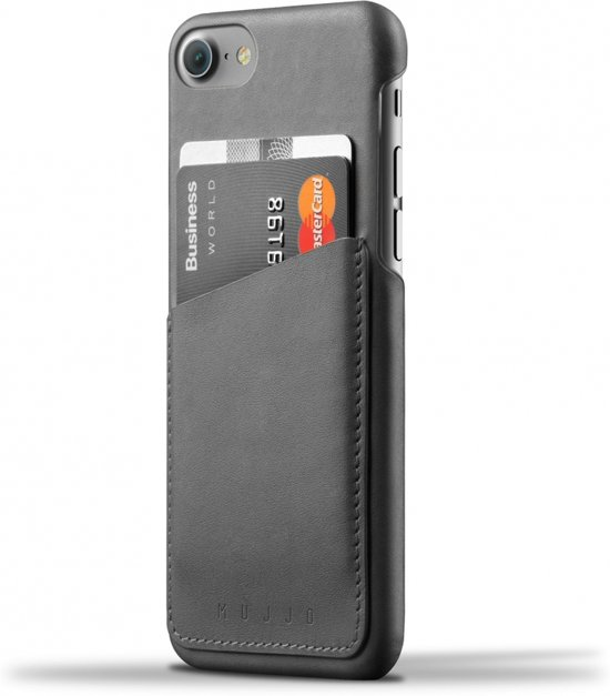 Mujjo Leather Wallet Case for iPhone 8 / 7 Grijs