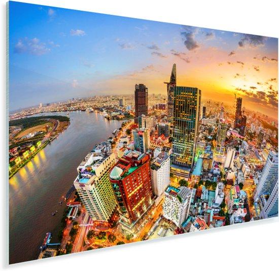 Luchtfoto en zonsondergang in de Vietnamese stad Ho Chi Minhstad Plexiglas 180x120 cm - Foto print op Glas (Plexiglas wanddecoratie) XXL / Groot formaat!