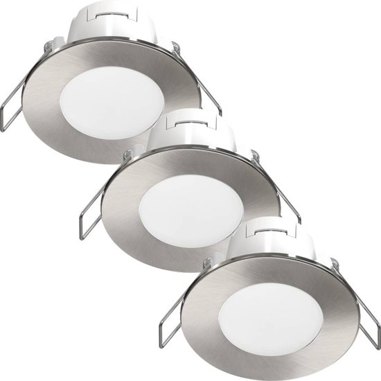 bol.com | LED Inbouwspots Albani 3 Pack 4.6W - RVS Look