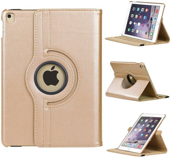 iPad Mini 1  / 2 / 3   Rotatie hoes cover met stand  Champagne  Goud