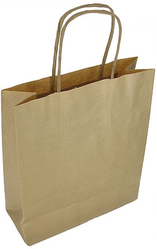 Papieren draagtas | 18+8x24 cm|Gedraaid koord  | bruin | 100 stuks