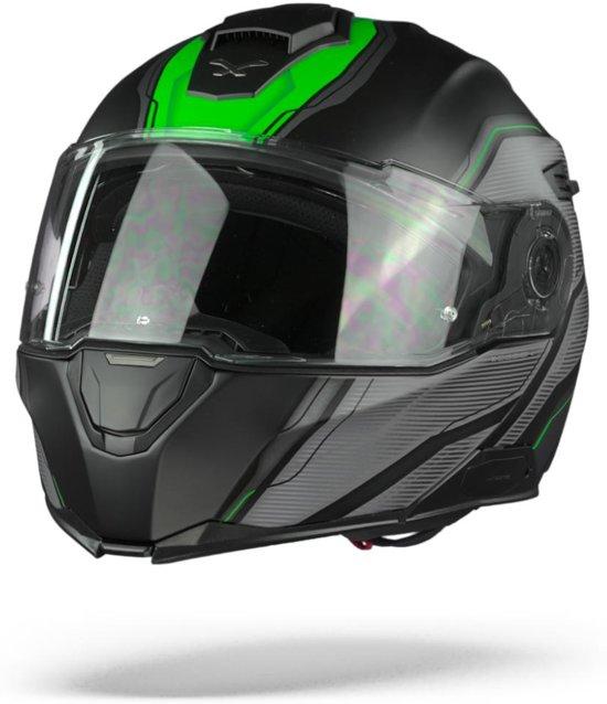 NEXX.Vilituritur Paradox Black Green Matt Systeemhelm - Motorhelm - Maat M