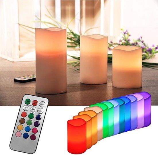 Vlamloze led kaarsen, set van 3 met kleurwisseling en timerfuncitie