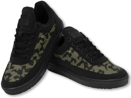 26b1e5f3b1d211 Cash Money Heren Schoenen - Heren Sneaker Low Case - Army Kaki Black -  Maten: