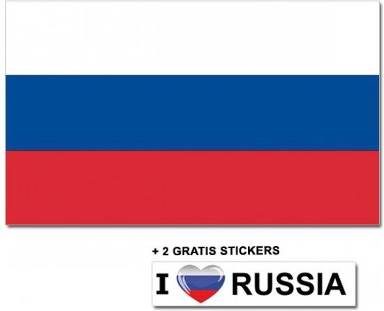 Russische vlag met 2 gratis Rusland stickers