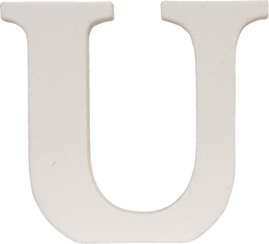62861-U - Letter U - 9 x 8 cm - mdf - natuur