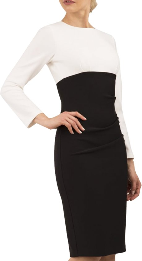 Diva Catwalk jurk Sabine mouwloze kokerjurk 5279 Mustard yellow vanilla black