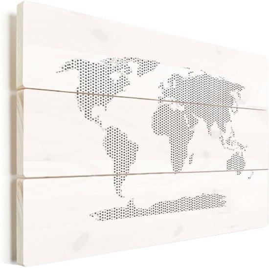 Wereldkaarten.nl - Wereldkaart kruisjes en plusjes zwart-wit vurenhout 80x60 cm
