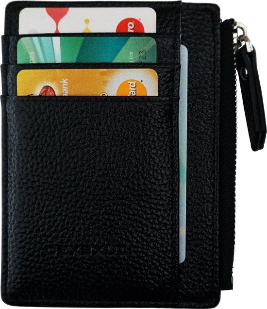 bb4f26be96e ZILOU Compacte Mini Wallet Portemonnee - Pasjeshouder Etui - Kunstleer -  Zwart