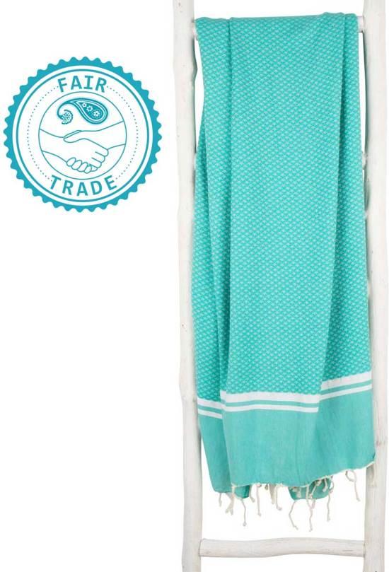 ZusenZomer Hamamdoek XL SOUSSE 190 cm Fouta hamam doek strand sauna hammamdoek - zeegroen