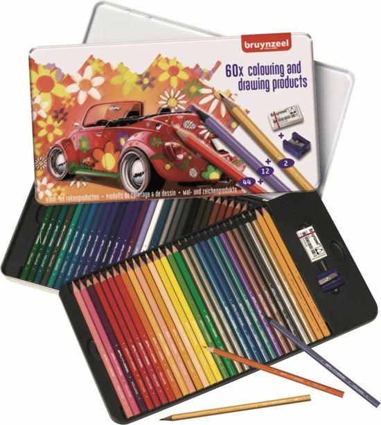 Afbeelding van Bruynzeel Super Sixties Kever 60-delig kleurblik met potloden, gum en slijper