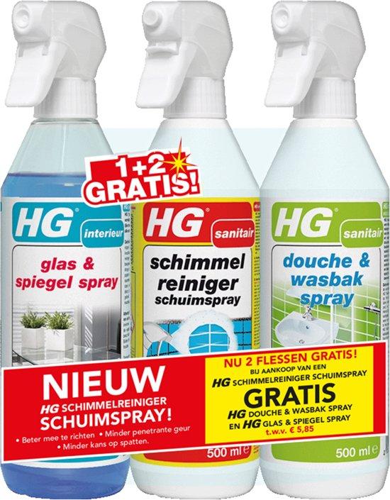 HG SCHUIM SCHIMMELREINIGER + GLAS + DOUCHE ACTIESET - HG schimmelreiniger schuimspray + 2 gratis HG spray flacons