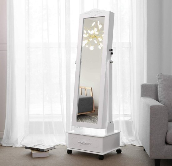 MIRA - Sieradenkast | Spiegel | opbergkast | Wieltjes | LED Verlichting | 2 Laden | Wit