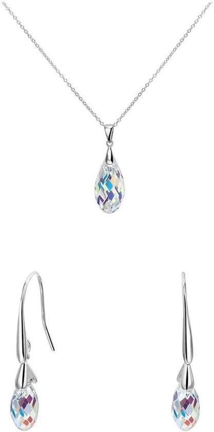 Lucardi - Zilveren set ketting&oorbellen met kristal - maat