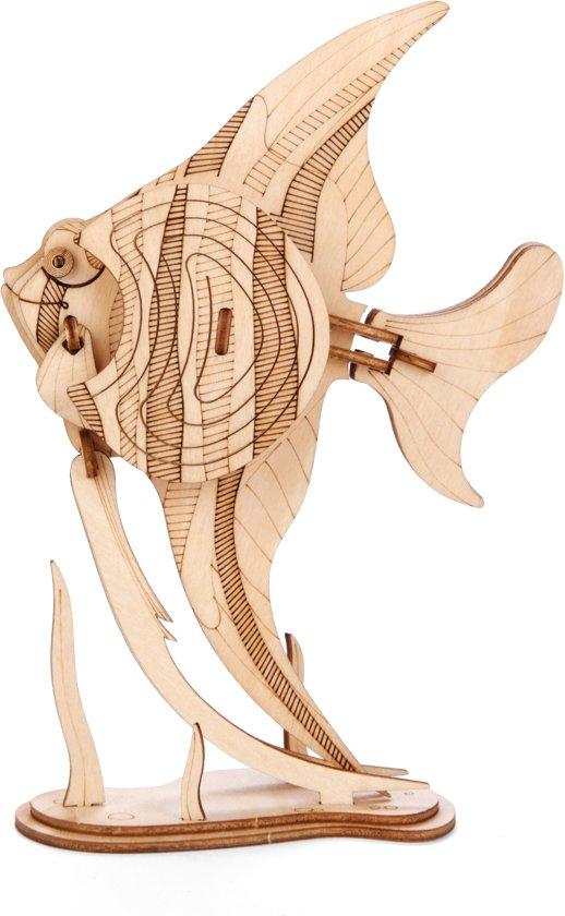 Houten 3D Puzzel Amazing Angelfish – Topkwaliteit(!) Hobby Modelbouw Technisch Speelgoed Bouwpakket Hout Zelfbouw Pakket Houtpuzzel Vis Balsahout