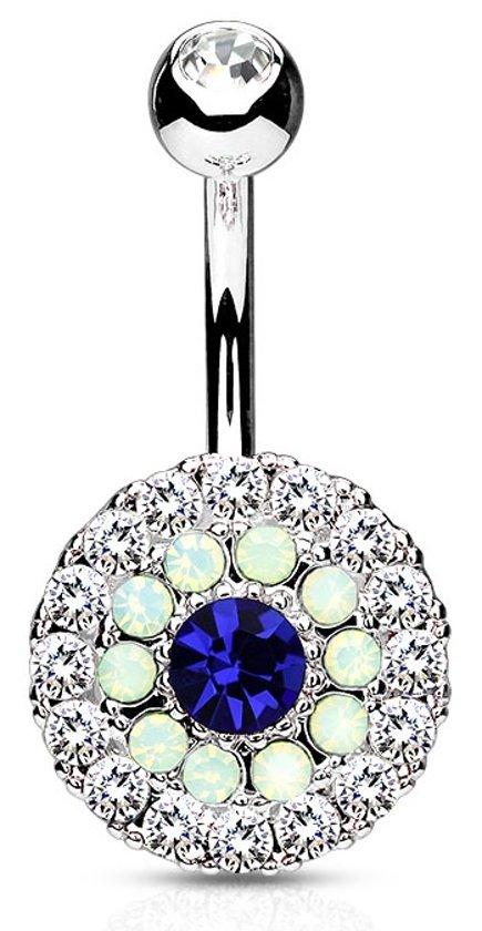 Rond Multi Kristal Navelpiercing Blauw