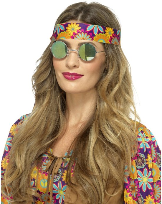 Hippie bril spiegelglazen groen/blauw voor volwassenen